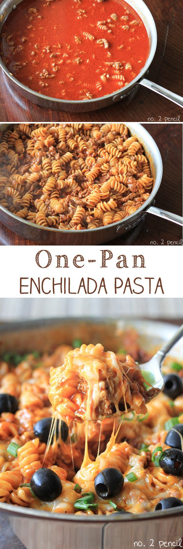 One-Pan Enchilada Pasta Recipe - This looks delicious. When my vegetarian in-laws visit, I would make with vegetable broth and crumbled tofu.