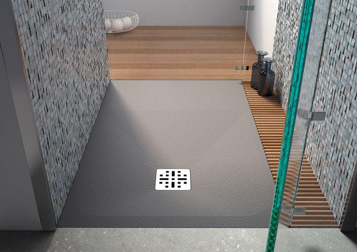 Receveur de douche Cedam - Saba. Receveur couleur pierre gris en Mineralsolid (disponible en 4 couleurs). Aspect texturé très tendance et un large choix de dimensions. Possibilité de sur mesure. #douche