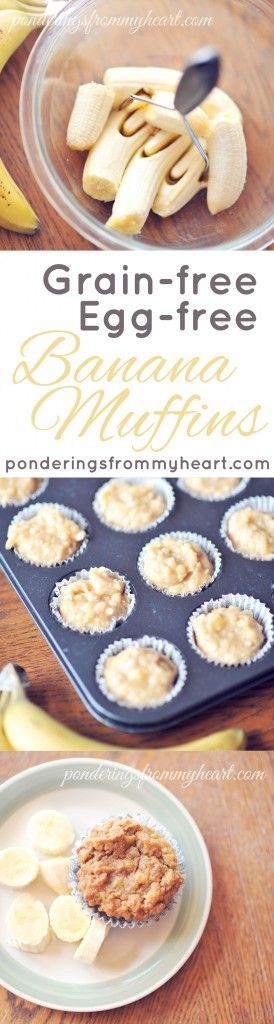 Banana Muffins | Grain-free, Egg-free, Dairy free. Left out the honey to make them sugar free as well