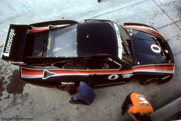 The old Sebring pit structure was still in place in 1982, allowing this overhead view of cars during practice and the race. This is the Porsche 935 driven by Danny Ongais and Ted Field.