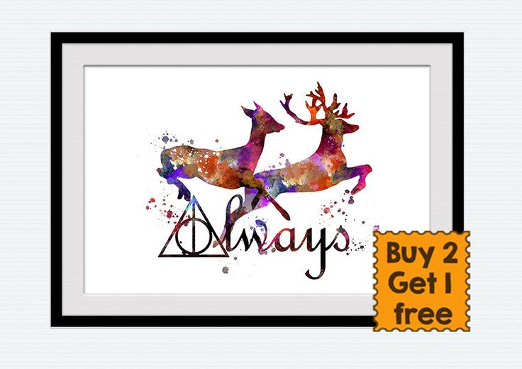Always Harry Potter art print Harry Potter watercolor poster Always together wall decor Home decoration Harry Potter multicolor decor W7 (12.00 USD) by ColorfulPrint