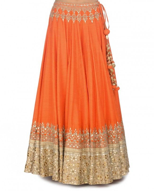 Orange Lengha Set with Gota Patti Work