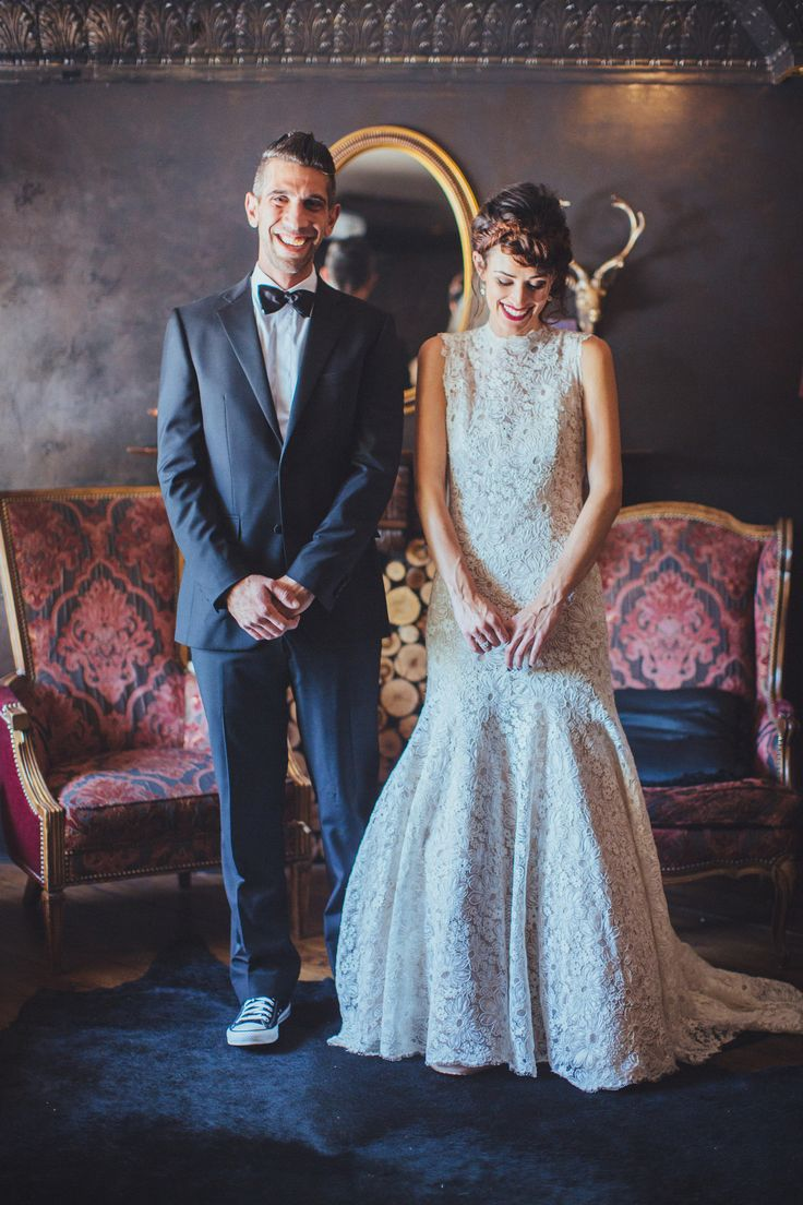 Wedding Dress: Ulla Maija | Photography: rad and in llove | See the Smog Shoppe Wedding on SMP: http://stylemepretty.com/2013/11/27/smog-shoppe-wedding-from-sitting-in-a-tree-events/