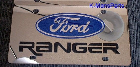Ford Trucks Gold Letters Stainless Steel License Plate