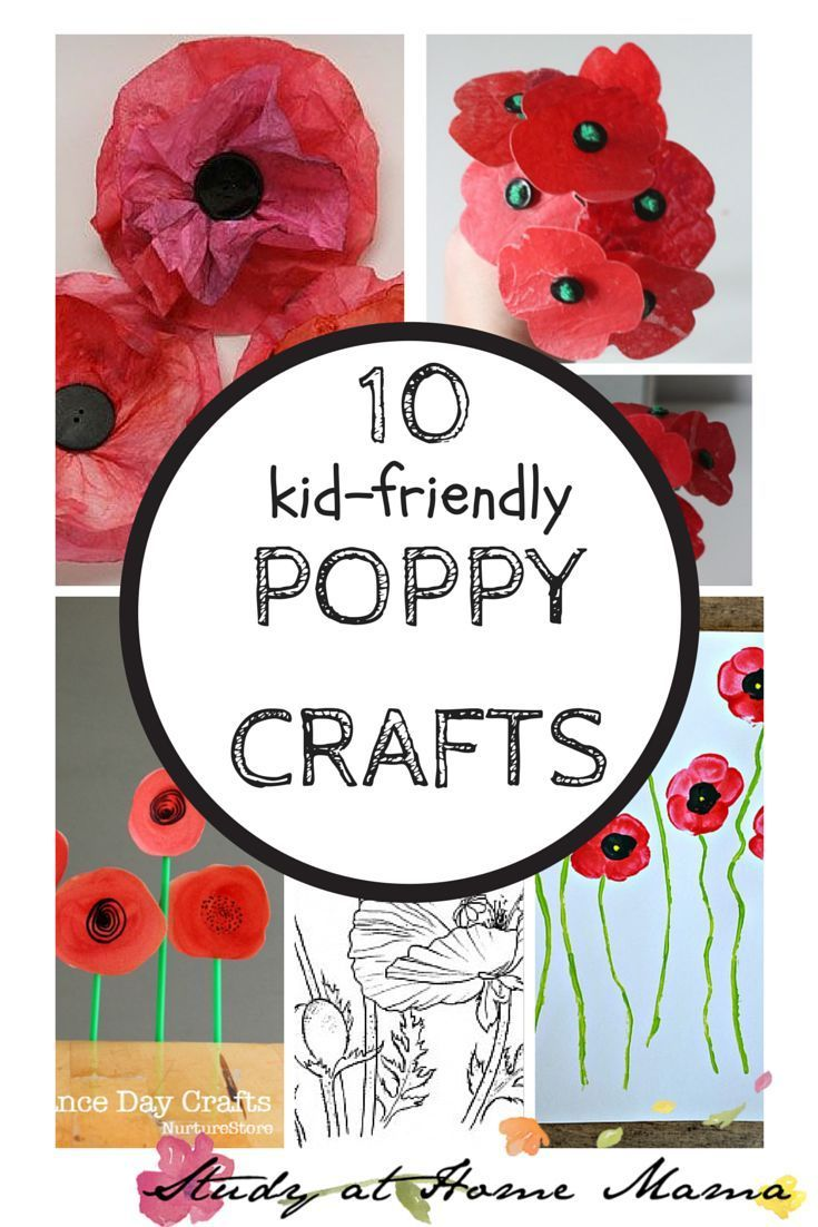 10 Kid-Friendly Poppy Crafts for Veterans Day or Remembrance Day! I love the tissue paper flowers!