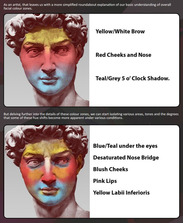 facial colour zones
