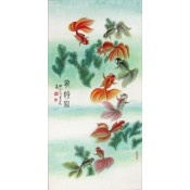 A nine auspicious fish wall scroll painting is a blessing for abundance.