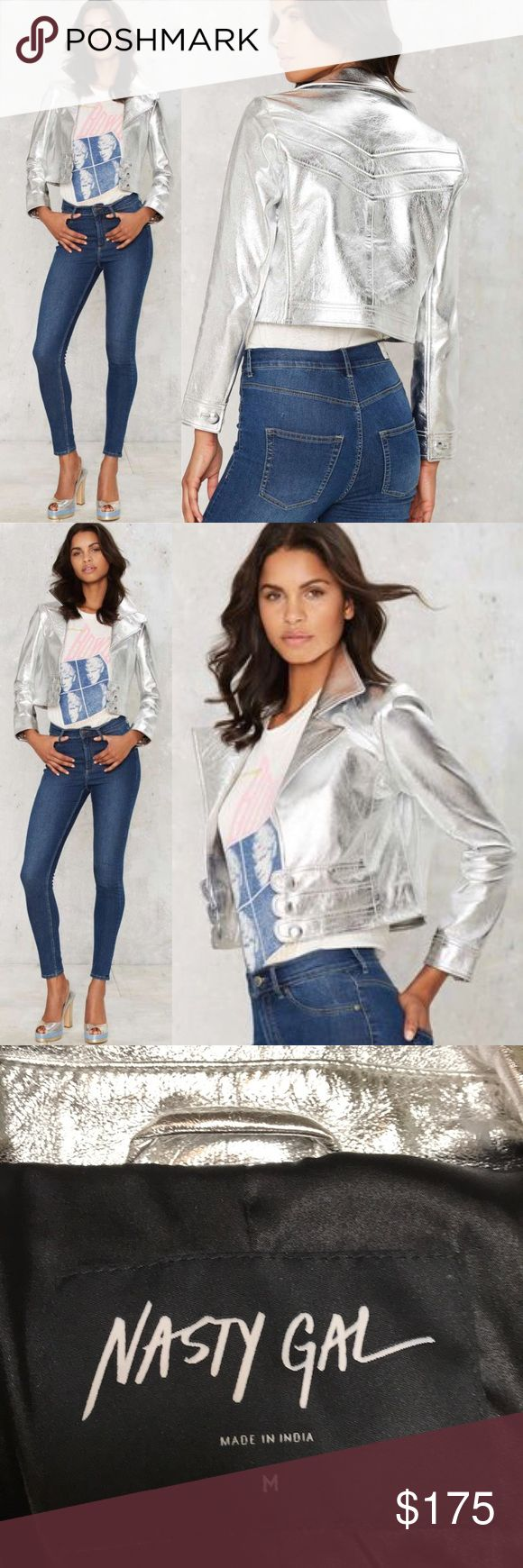 Nasty Gal Jerry Metallic Leather jacket Look fresh out of the Factory. The Jerry Jacket is made in metallic silver leather and features a notched collar, leather panels with button closures at front, and button at sleeves. Fully lined. Pair it with the matching Jerry Skirt for full effect or wear it with wide leg pants for an equally amazing look. By Nasty Gal.. Leather. Runs true to size. Dry clean only. Imported. Sold out at Nasty Gal. Brand new boutique item Nasty Gal Jackets & Coats