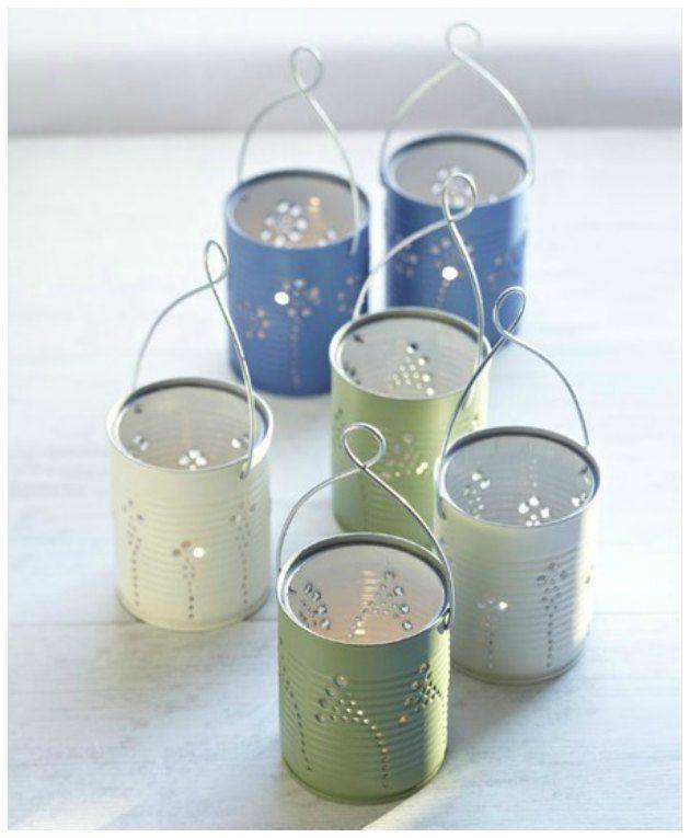 lanterner til haven af dåser genbrug