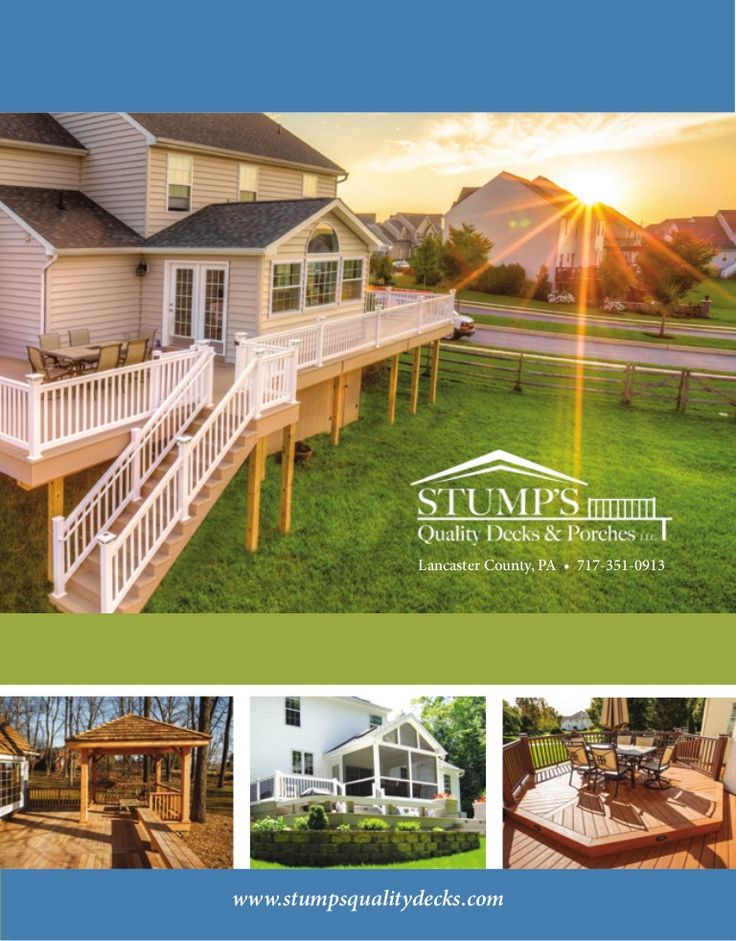 Brochure for Stump's Quality Decks and Porches, a deck building contractor in Lancaster County, PA uses QR Tags to take viewers directly to portfolio pages on website for more detailed information.  #brochure #marketing #QRtags  Deck Building Contractor by Quessity via slideshare