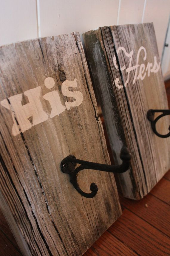 Rustic Towel Hooks - His & Hers - Reclaimed Barn Wood ...
