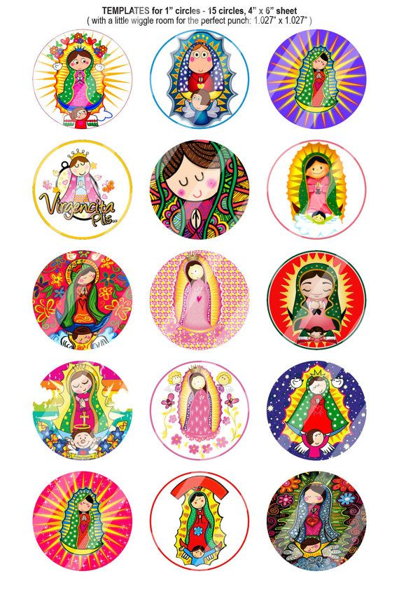 151 Digital Bottle Cap Images Virgencita Plis by BeautifulDigitals, $1.25