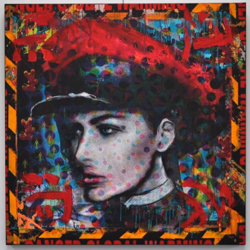Previous  Next  'RED HOT ARMY POLKA' BY TRXTR  TRXTR  'RED HOT ARMY POLKA' BY TRXTR  Mixed Media and Acrylic, Chalk, Spray Paint, Charcoal on Canvas.  92cm x 92cm    Buy now using PayPal:  £1750.00