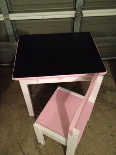 Found this desk on the side of the road. The top was damaged, so I cleaned it all up, sanded it and used chalk board paint on the top! Tallulah loves it!