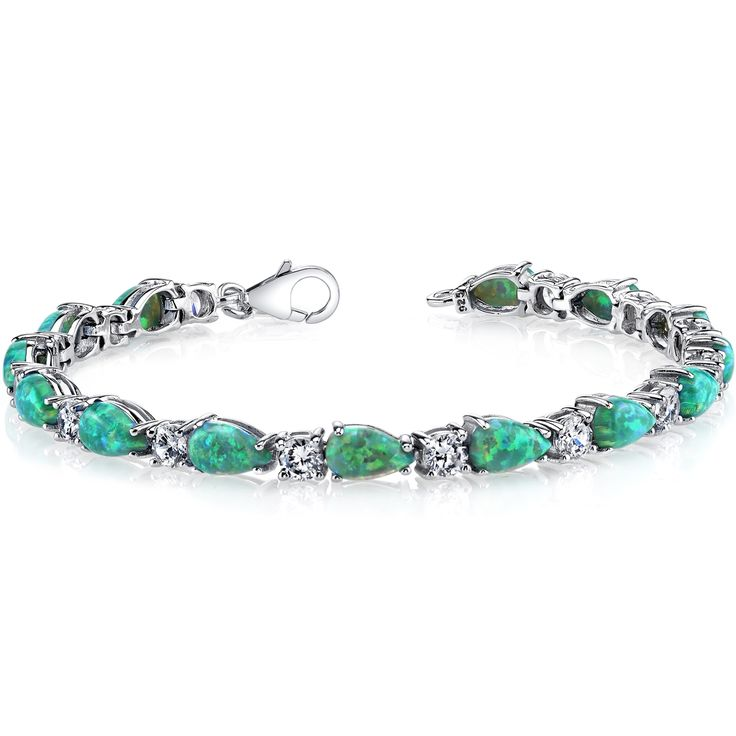 MSRP: 499.99  Our Price: $199.99  Savings: $300.00    Item Number: SB4366(2)    Availability: Usually Ships in 5 Business Days    PRODUCT DESCRIPTION:    Classic. Elegant. This Absinthe Green Created Opal Tennis Bracelet Sterling Silver enthralls with its bright prism of colors. Brilliant Cubic Zirconia adds sparkle and a luxurious look to this timeless piece.    Opal is October's birthstone and would make a perfect gift for the October birthday girl. It's also a wonderful gift for just…