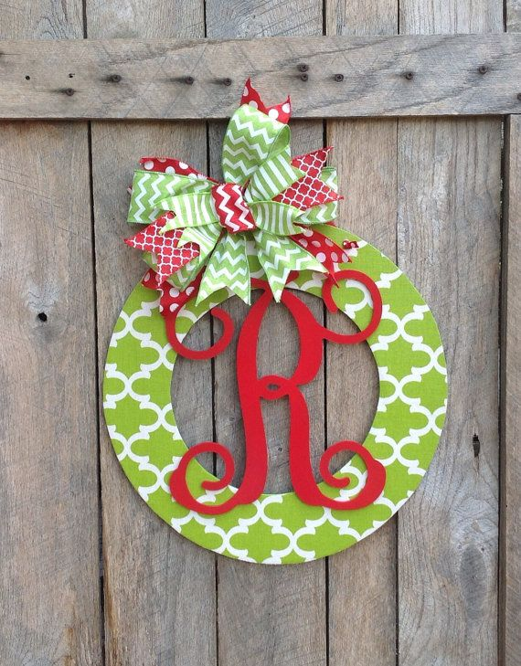 Personalized Door Wreath Wood Wreath Home Decor by TheRedWoodBarn