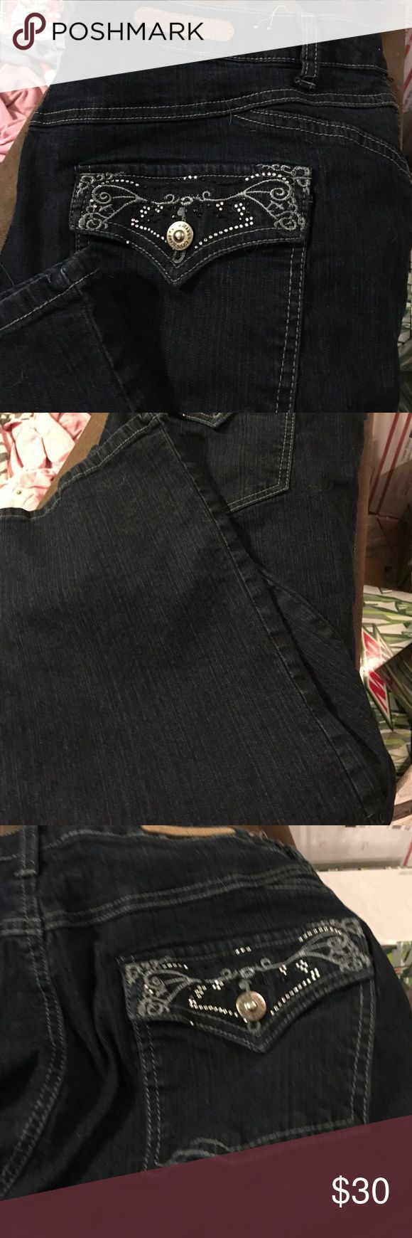 Cos Jeans with Rhinestone Design NWOT Cool jeans with beautiful back pocket detailing. Nice dark blue wash Cos Jeans Jeans