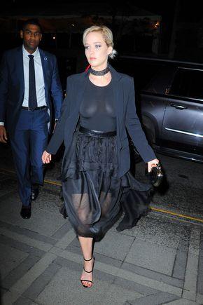 Jennifer Lawrence Hot Sexy Boobs Cleavage SideBoob See-Through Pokies Wardrobe Malfunction Lingerie