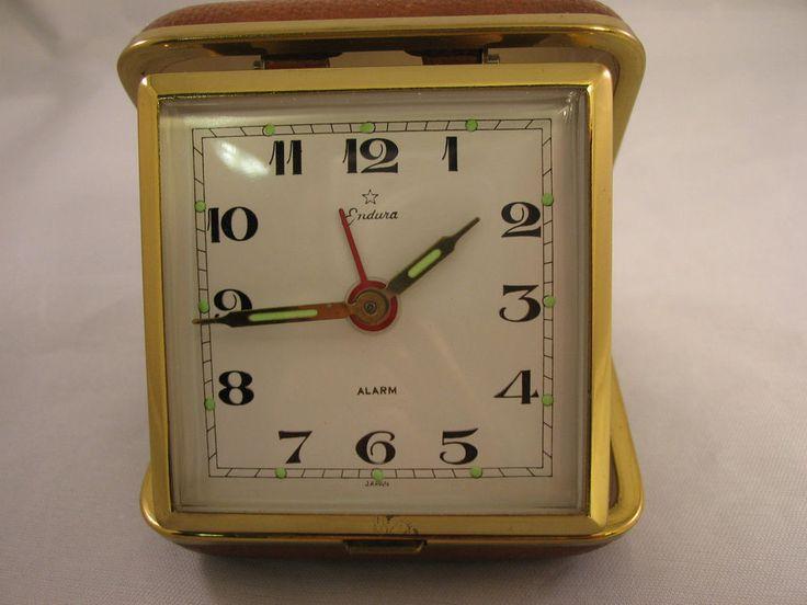 Vintage Travel Alarm Clock Endura Hard Case Luminescent Hands Dots Wind-up Japan