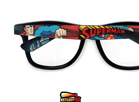 Superman glasses  clear lens glasses comic unique by ketchupize, €37.00