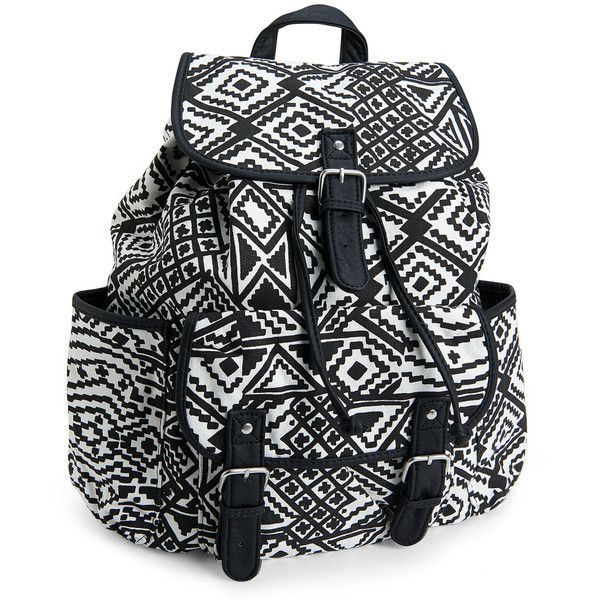 Aeropostale Southwest Diamond Backpack ($20) ❤ liked on Polyvore featuring bags, backpacks, backpack, accessories, cream, backpacks bags, travel backpack, black zip pouch, black pouch and backpack pouch