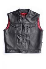 415 Red Linning Leather Vest *415-VEST*