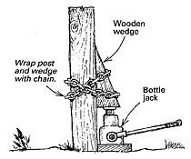 Pulling a post out of the ground using a hydraulic bottle jack.