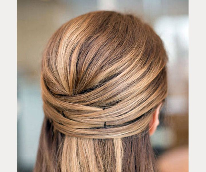 Straight hair crisscross half up half down style ~ we ❤ this! moncheribridals.com
