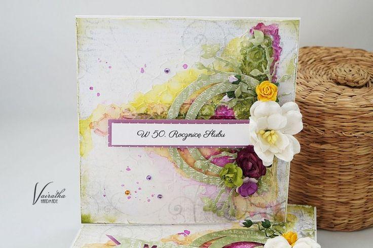 40.rocznica ślubu – Kartki z okazji rocznic - kolor: jasnożółty, miętowy, śliwkowy, wymiary: 13,5*13,5cm pudełko 15*15cm – Artillo