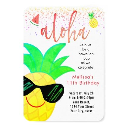 #cartoon pineapple face summer birthday card - #birthday #gifts #giftideas #present #party