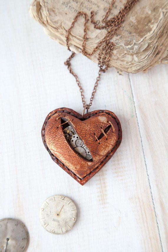Broken Heart Pendant Necklace Steampunk Jewellery Gothic Jewelry