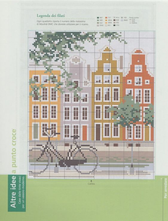Cross stitch Amsterdam gable houses