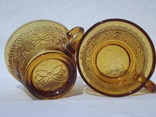 huge amber glass punch bowl / cups set, vintage Tiara sandwich glass
