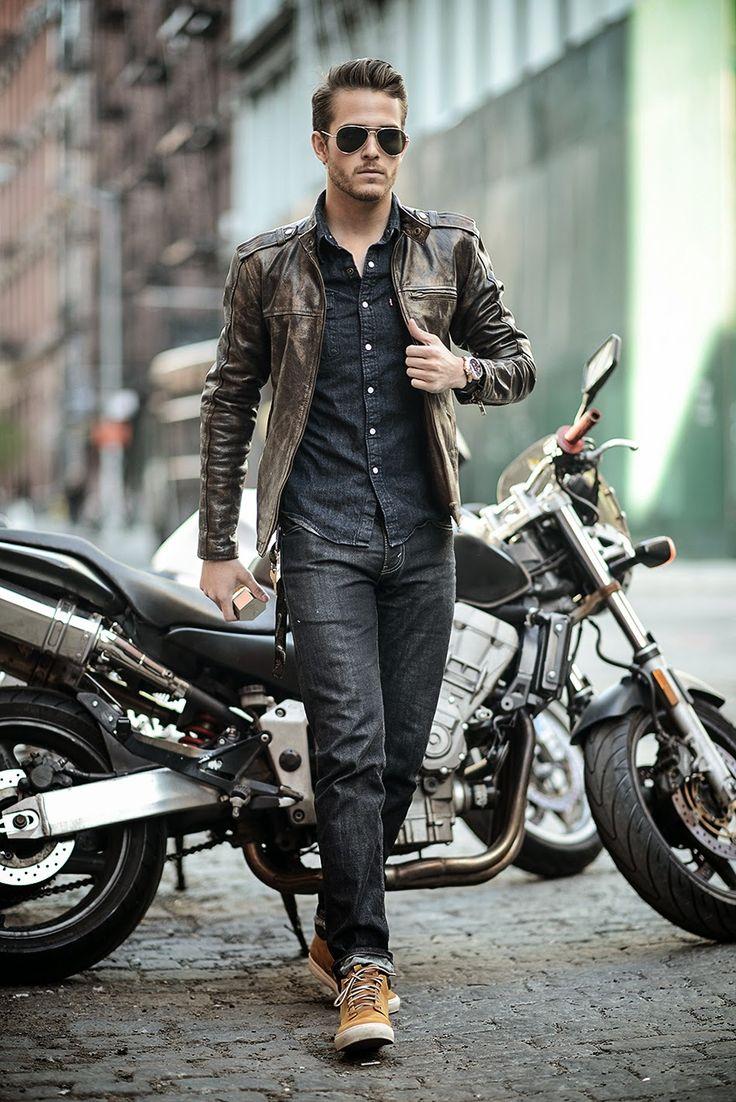 leather | bike | denim