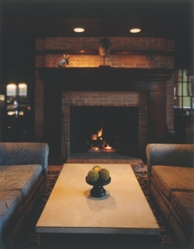 Spend a winter night on our heated patio or inside by the fireplace