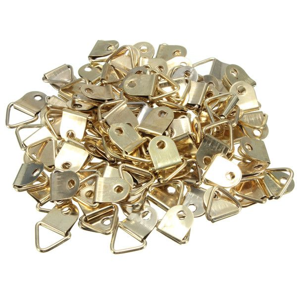 Wholesale universal Strong Golden 100pcs D Rings Decor Picture Frames Hanger Hooks Hanging Triangle Screws Helper High Quality #shoes, #jewelry, #women, #men, #hats, #watches