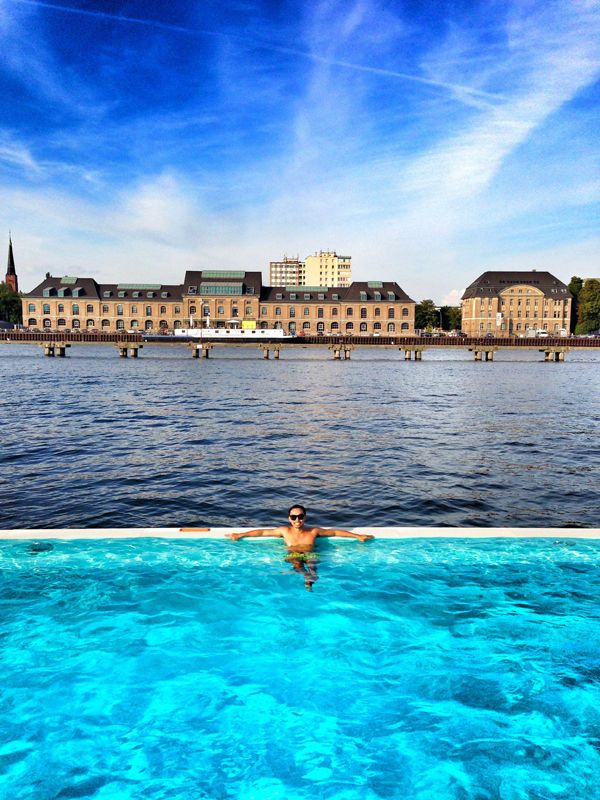 Swimming at the Most Unusual Pool in Europe If you're like me who loves to swim and spend days baking under the sun, then the best and coolest spot to do both in Berlin is at the Badeschiff (literally translated as Bathing Ship) which is arguably the most unusual and unique swimming pool in Europe or even the world.