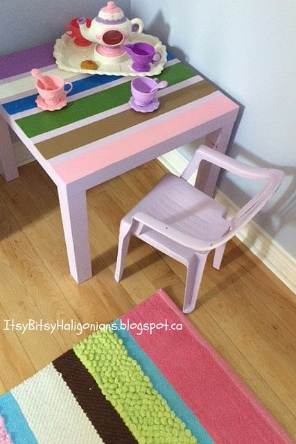 Quick and cheap custom upcycle of a secondhand table and chair set to match bedroom rug.