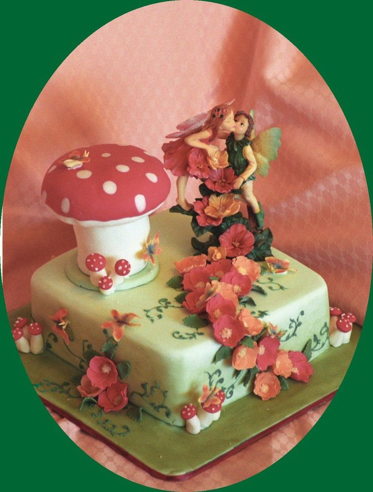 Fairy's And Toadstool Mushroom Wedding Cake  on Cake Central