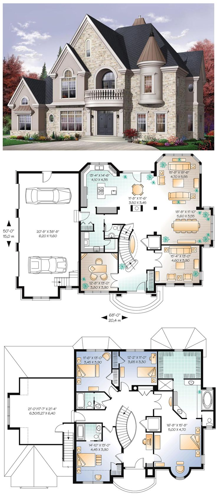 #Luxury #HousePlan 64847 | Presenting a stately exterior with impressive rooflines, stonework and balcony, this fine home makes quite a statement. Inside, you'll discover 10-foot ceilings (11 in the bonus room) and comfortable rooms in which to relax and entertain. A bright living room, generous dining room, open kitchen and breakfast nook all enjoy the hearth and easy access to the garden doors leading to the back yard.