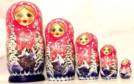 Nesting doll Winter Russian doll souvenir collectible wood toy linden birch decoration Holliday  birthday gift hand painted