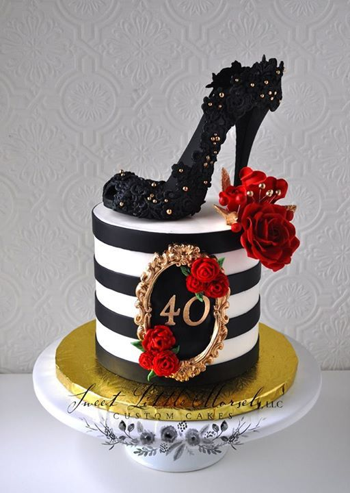 Birthday Cake Made The Shoe Out Of Black Fondant And Used A Lace Mold To  Make The Impression.