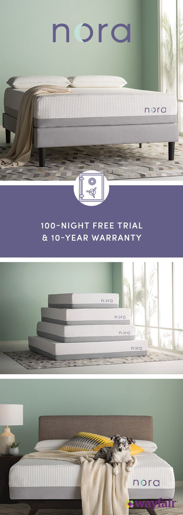 Sign up for access to everything home, including the new, Wayfair-exclusive Nora mattress! Researched and perfected down to the last detail, Nora offers premium, unparalleled comfort. It's easy to unbox and a cinch to set up. It's luxurious, cool, and carefully crafted to adapt to your body. The best part? It takes just two days to arrive on your doorstep – so you'll be ready to unwind in no time (and at no extra cost).