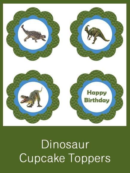 Dinosaur Cupcake Toppers - FREE PDF Download