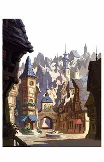 """the art of kevin nelson: """"Tangled"""" town square sketch"""