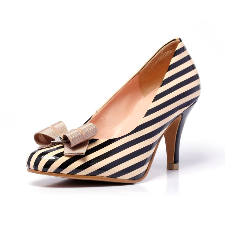 elviana beige stripe pump black and cream cover toe toe court shoes nautical inspried pumps 3 inch heels womans shoes 1 Elviana Beige, Strip...#prom