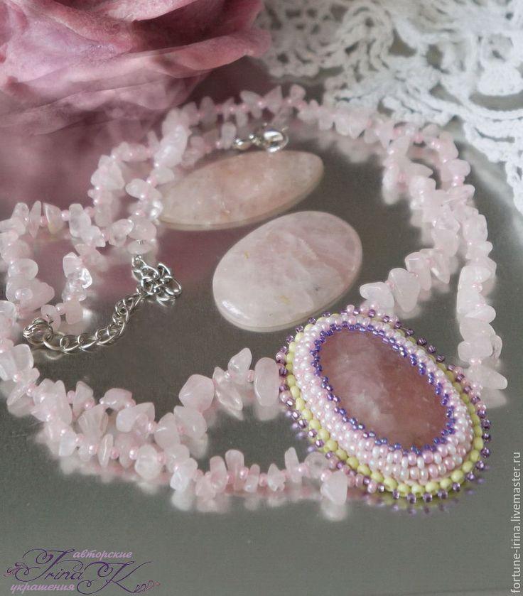"""Купить Комплект украшений из розового кварца """"Розетта"""" - бледно-розовый, ручная работа"""