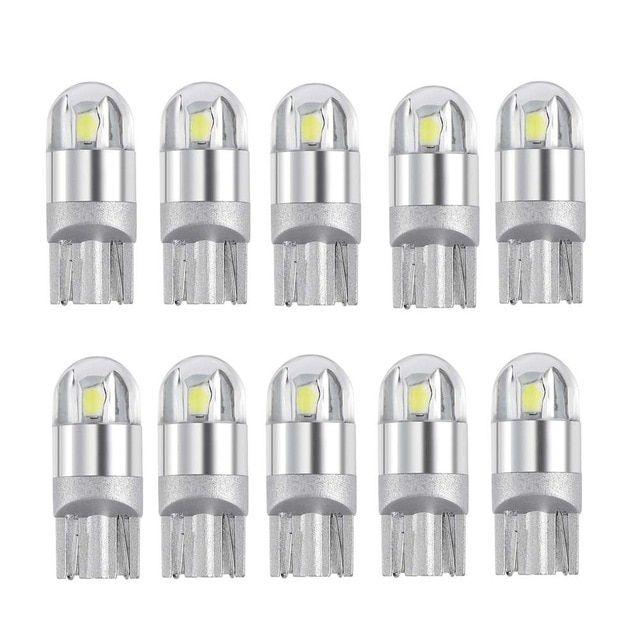 10pcs T10 Led Bulbs White 168 501 W5w Led Lamps T10 Wedge Lights 3030 2smd Interior Bulb 12v 24v 6000k For Auto Car Motorcycle Revi Led Bulb Led Lamp T10 Led