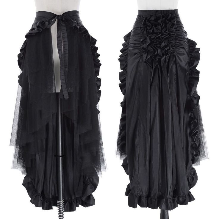 Womens Steampunk Victorian Ruffle Dress Dovetail Vintage Girls Gothic Maxi Skirt https://madburner.com