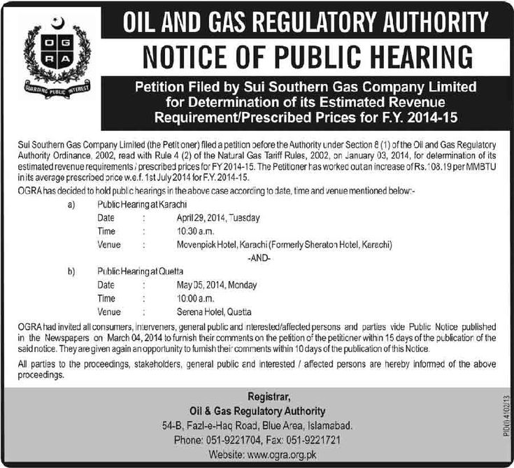 OGRA Jobs 2014 Sui Southern Gas Company Jobs 2014 Public Hearing Karachi and Quetta